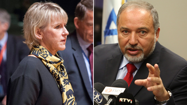 Israeli FM Lieberman and Swedish FM Wallstrom