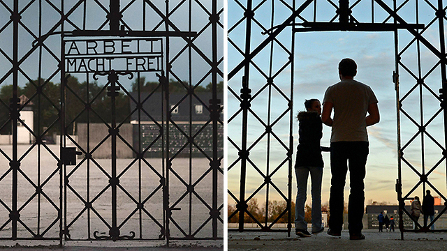 The missing sign, left, and the entrance to Dachau (Photos: AFP, EPA)