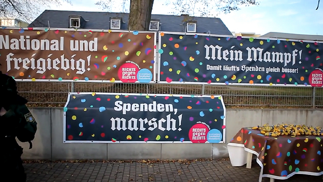 Banners put up along the neo Nazis' march route; 'National and generous,' 'My food' and 'Donations march.'