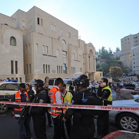 Scene of terrorist attack at Jerusalem synagogue (Photo: Gil Yohanan) (Photo: Gil Yohanan)