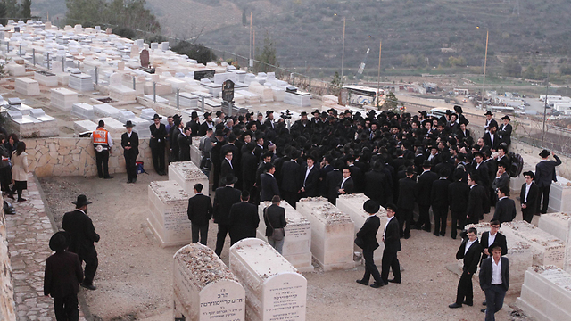 The funeral of Rabbi Moshe Twersky in Jerusalem on Tuesday. (Photo: Ido Erez)