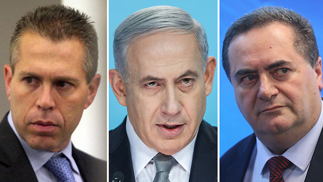 Netanyahu with Katz (R) and Erdan. What do these ministers know about intelligence and strategic affairs? (Photos: Alex Kolomoisky and Emil Salman)