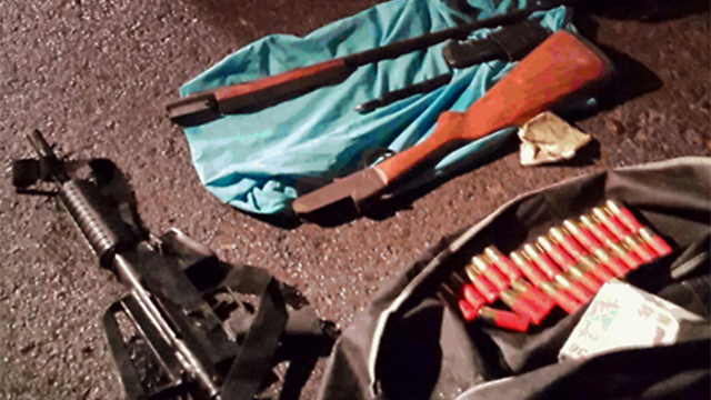 Weapons confiscated during investigation