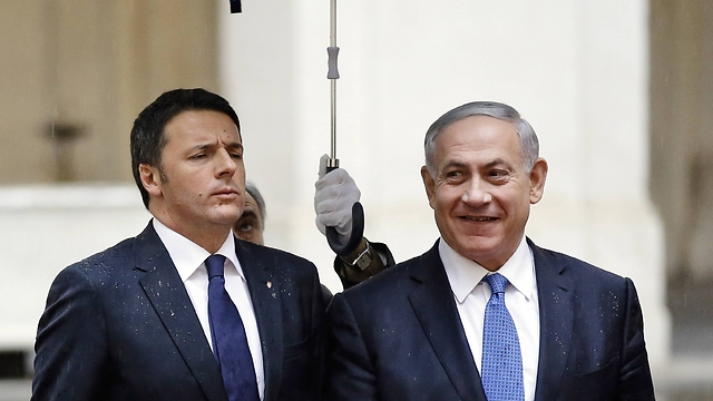 Netanyahu and Italian Prime Minister Matteo Renzi in Rome. (Photo: AP) (Photo: Associated Press)