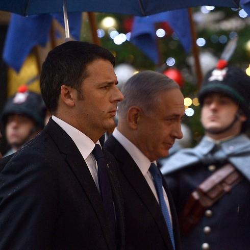 Italian Prime Minister Matteo Renzi and Prime Minister Netanyahu in Rome. (Photo: AFP) (Photo: AFP)