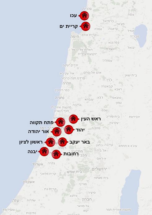 מפת הערים שנבחנו במסגרת הבדיקה (צילום: google maps)
