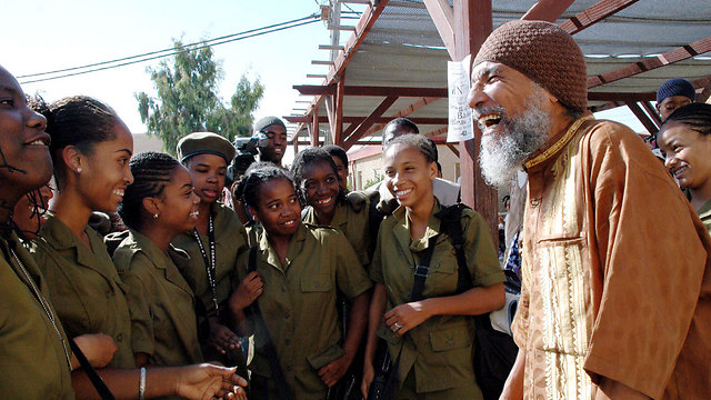 Ben-Israel with members of  the African Hebrew Israelites who joined the IDF. (Photo: Israel Joseph)
