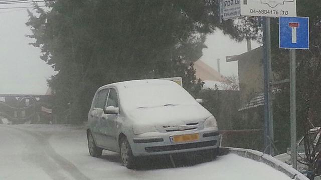 שלג בצפת, הבוקר (צילום: אביהו שפירא)