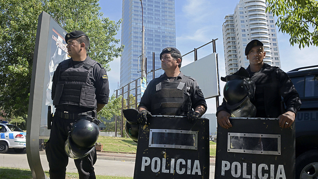 Security forces outside Israeli embassy in Uruguay (Photo: AFP)