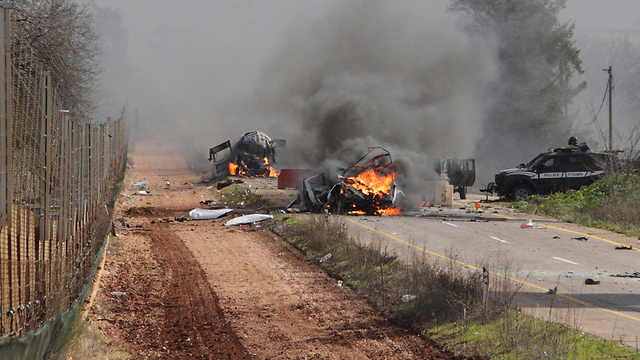 Flaming wreckage after Hezbollah attack on Israeli convoy in January (Photo: Reuters)