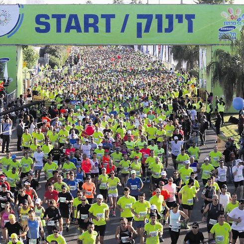 Tel Aviv marathon in 2014. (Photo: Oren Aharoni)