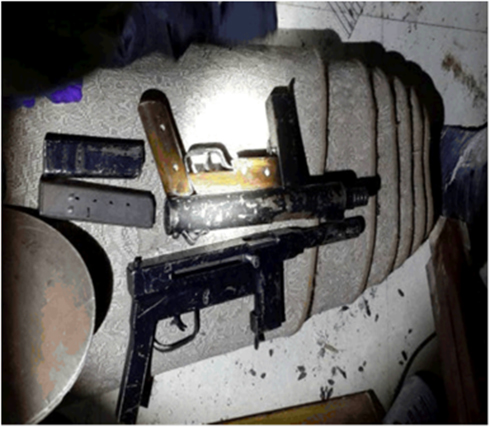 Weapons recovered by Israeli security forces in Hebron. (Photo: Shin Bet Spokesman)