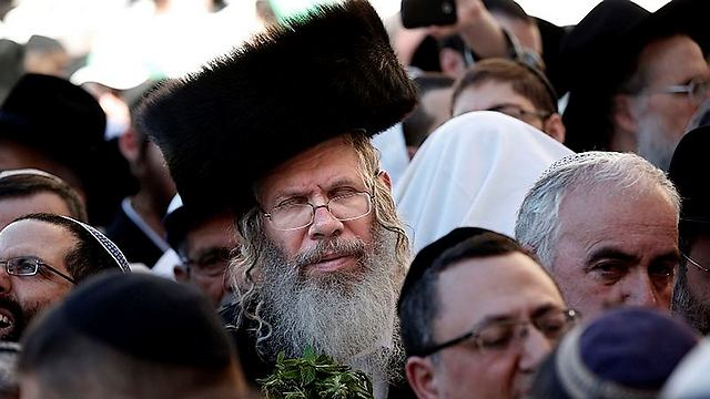 Jewish men from all walks of life were in attendance (Photo: AFP)