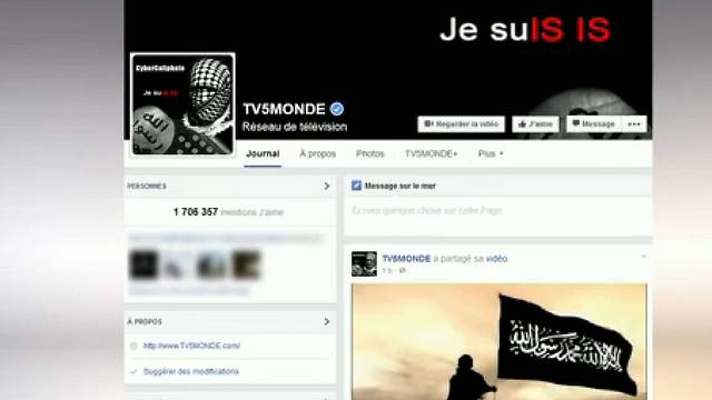 An image grab from a video shows a message that appeared on French television network TV5Monde's facebook account while it was hacked by individuals claiming to belong to the Islamic State group (Photo: AFP)