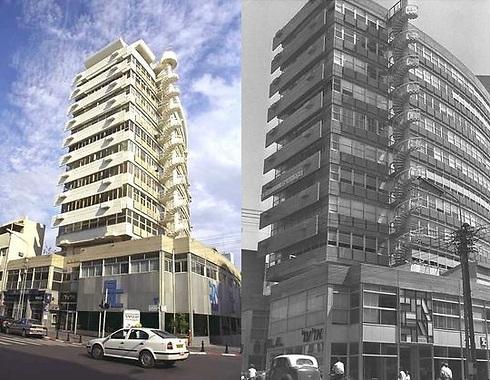 """בית אל על, 1963 ו-2001. הלוגו עודכן עם השנים (צילומים: משה פרידן ויעקב סער, לע""""מ)"""