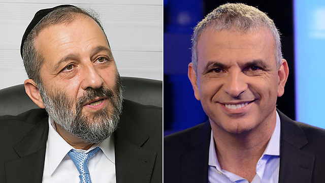 Shas leader Aryeh Deri (L) and Kahlon (R) (Photo: Yonatan Blum / Yaron Brenner)