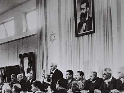 David Ben-Gurion declares Israel's independence, May 14, 1948