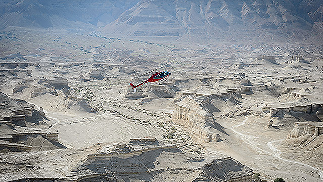 Helicopter over Masada. (Photo: Israel Bardugo)