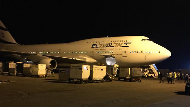 El Al plane in Nepal before take-off (Photo: Yossi Filivia)