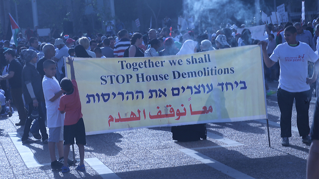 Protest in Tel Aviv against housing demolitions. (Photo: Motti Kimchi)