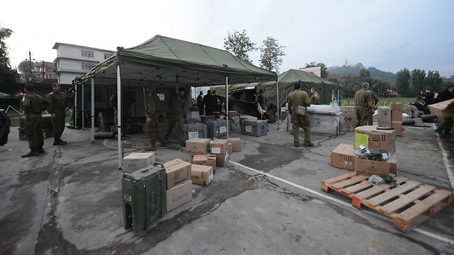 Tents at the IDF field hospital in Kathmandu (Photo: IDF Spokesperson)