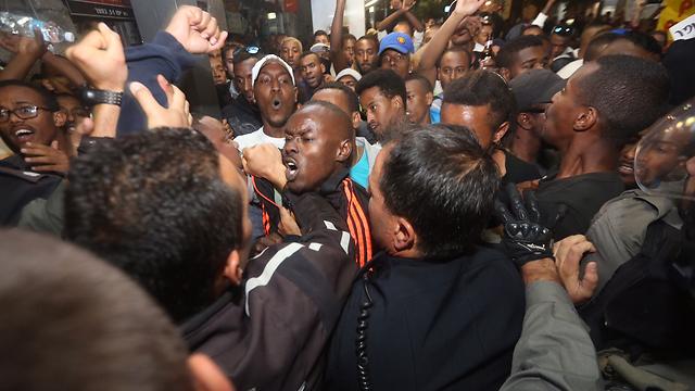 ההפגנה הסוערת בירושלים (צילום: גיל יוחנן)