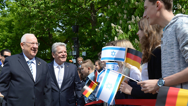 Presidents Rivlin and Gauck in Berlin. An unequal relationship (Photo: Amos Ben Gershom/GPO)