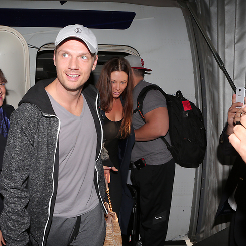 Nick Carter arrives in Israel. (Photo: Orit Pnini)