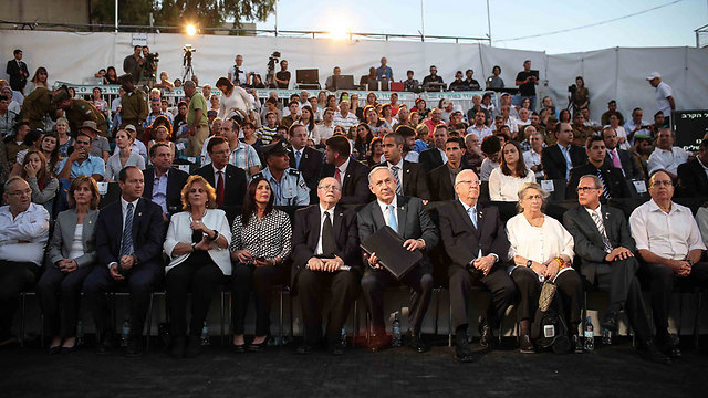 PM Netanyahu, President Rivlin and other dignitaries at the ceremony (Photo: Noam Moskovich)