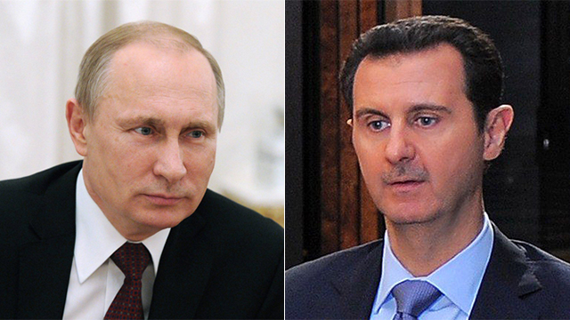 Putin and Assad. Allies no more. (Photos: EPA and AFP)