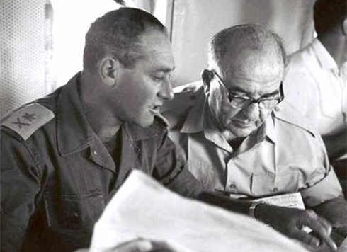 Eshkol (right) with Maj.-Gen. Yeshayahu Gavish (Photo: GPO)