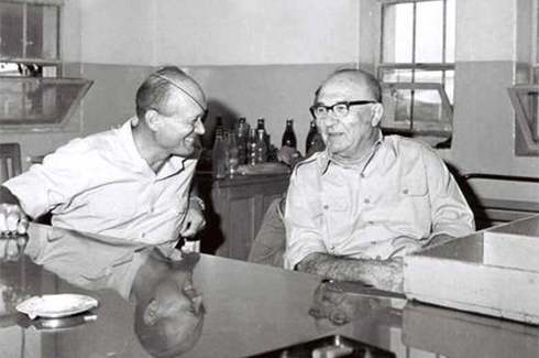 Then-defense minister Moshe Dayan (left) with then-prime minister Levi Eshkol (Photo: GPO)