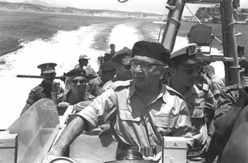 Then-prime minister Eshkol (front) with Maj.-Gen. Shlomo Arel at the Straits of Tiran (Photo: GPO)