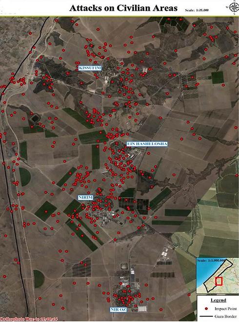 הנקודות האדומות מציינות את הפגיעות בשטחי ישראל ()