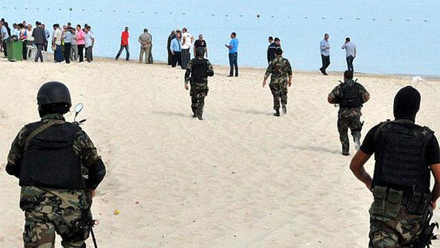 Tunisian authorities on the beach of Sousse.