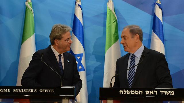 """ראש הממשלה בפגישה עם שר החוץ האיטלקי, הבוקר (צילום: חיים צח, לע""""מ)"""