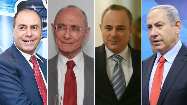 Those under examination, from left: Silvan Shalom, Uzi Landau, Energy and Water Infrastructure Minister Steinitz and Prime Minister Netanyahu (Photos: Energy Ministry, Elad Zagman, George Ginsburg, Alex Kolomoisky)