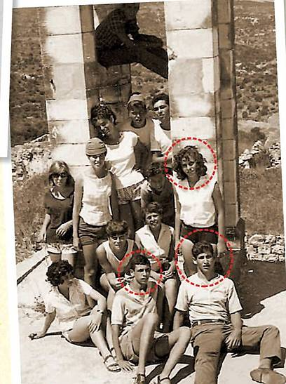 The 'successful Gymnasia Rehavia group.' Netanyahu (R) sitting on the floor alongside Uzi Beller. Netanyahu's first wife, Miki Haran, is standing behind him