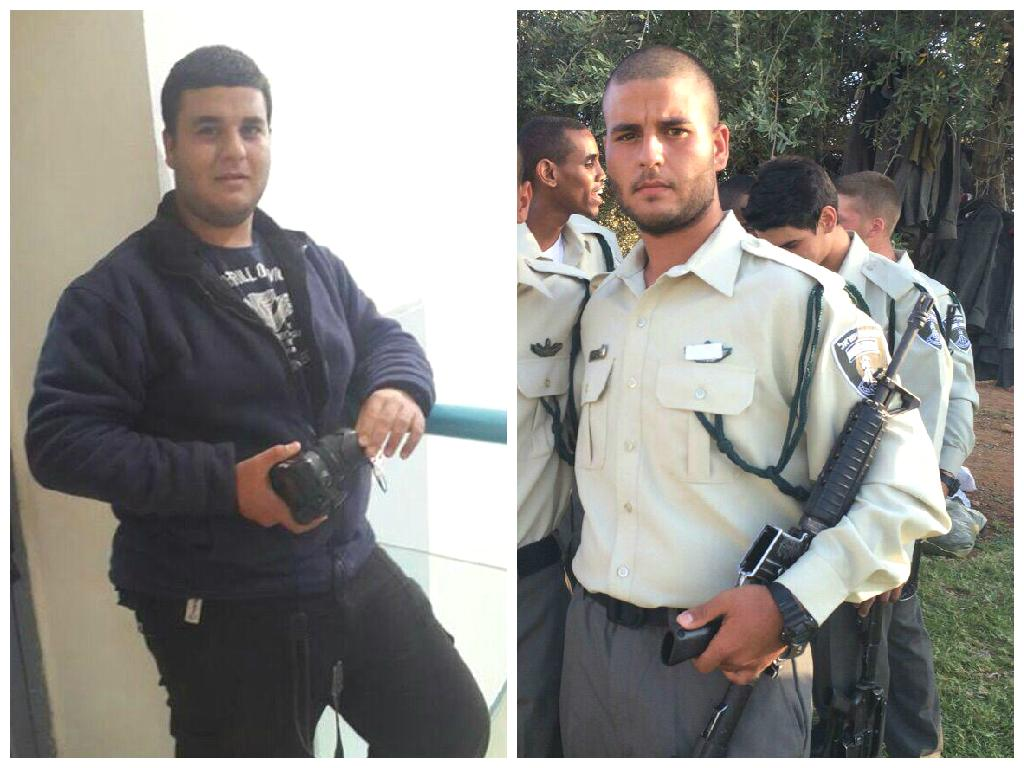 Lance Corporal Shai Abergil before (on left) and after, lost 21 kilos
