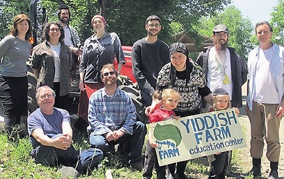 Naftali Ejdelman and fellow farmers. 'Yiddish is not going anywhere'