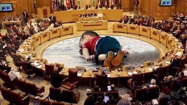 תמונת הפעוט על רקע ישיבת הליגה הערבית ()