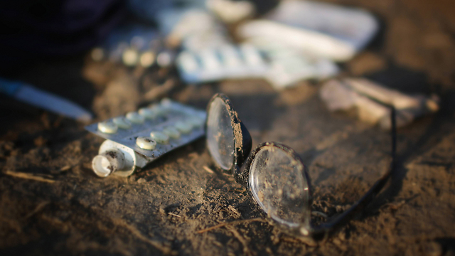 Abandoned glasses at a refugee camp in Hungary. (Photo: Getty Images)