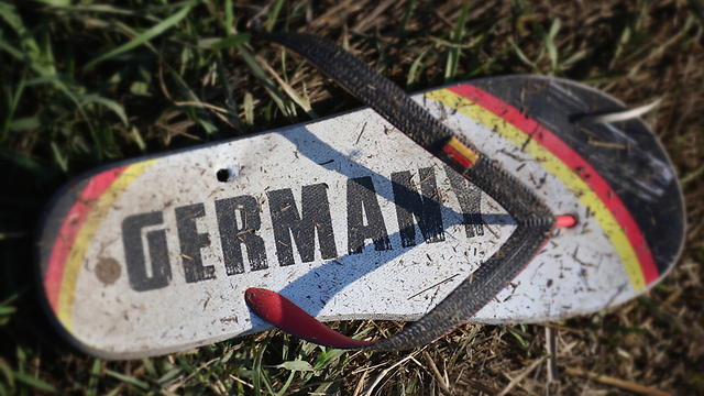 A flip-flop that represents the dream - reaching Germany, but was left in Hungary. (Photo: Getty Images)
