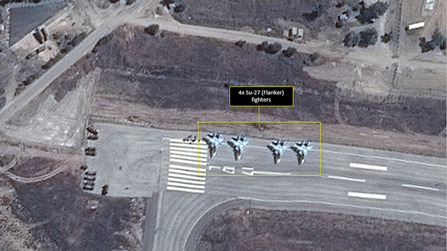 Satellite view of Russian fighters in Syria