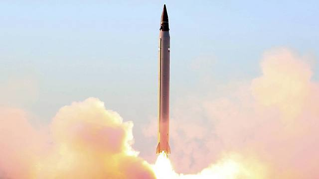 Picture released by the official website of the Iranian Defense Ministry claims to show the launching of an Emad long-range ballistic surface-to-surface missile (Photo: AP)
