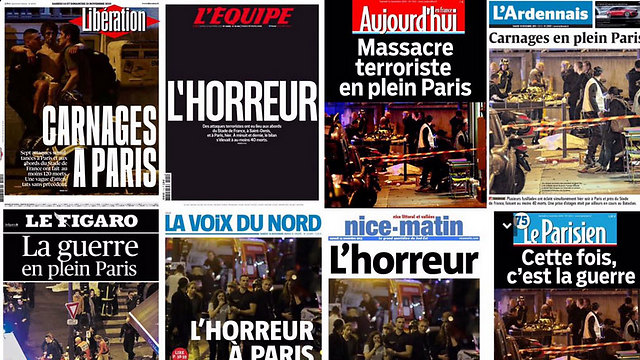 "French headlines: ""This time it's war"", ""War in central Paris"""