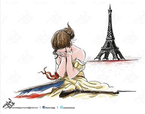 בוכים על מגדל אייפל, בקריקטורה שפורסמה בעיתון ירדני ()