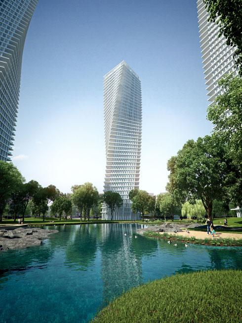 כיכר המדינה (בתוכנית הנוכחית שלה). במפתיע, שיפמן מתח ביקורת חריפה על אוסקר נימאייר, האדריכל הברזילאי הנודע שהוזמן לתכנן את המגדלים. הם לא הוקמו (הדמיה: 3DVISION הדמיות ממוחשבות)