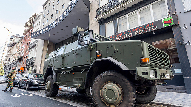 An armored army vehicle in Brussels, Belgium. (Photo: MCT)