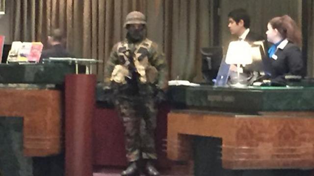 A Belgian soldier in the Radisson Blu hotel in Brussels.
